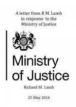 A letter from RM. Lamb in response to the Ministry of Justice